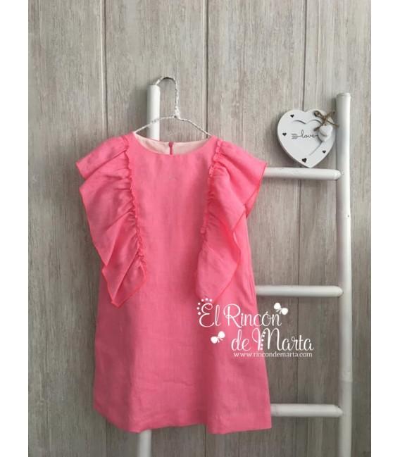 Vestido Lino Rosa Flúor