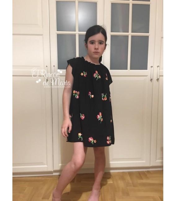 Vestido Negro Flores