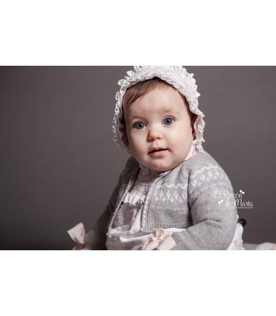 Mousse Chaqueta Punto Bebé Gris Rosa