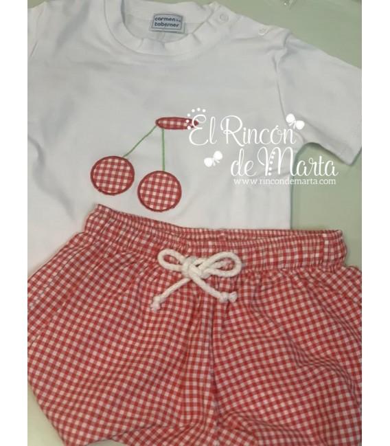 Conjunto Niño Camiseta Pantalón Vichy Rojo Cerezas