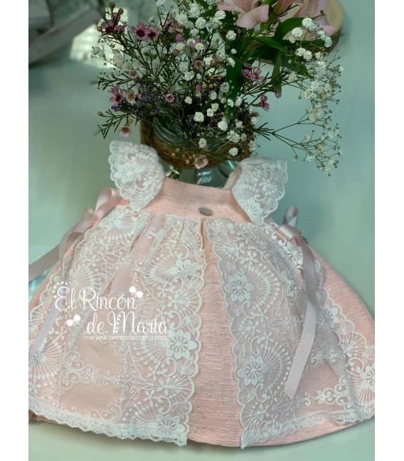 Vestido Niña Tul Rosa Bordado Colección Ceremonia de Carmen Taberner, Verano 2020