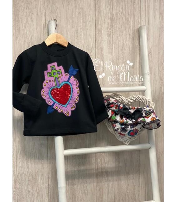 Sudadera Niña Negro Colección Corazones de Mon Petit Bonbon, Invierno 2020-21