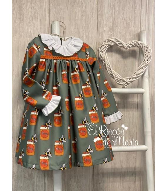 Vestido Niña Verde Colección Tarros de Miel de Mon Petit Bonbon, Invierno 2020-21