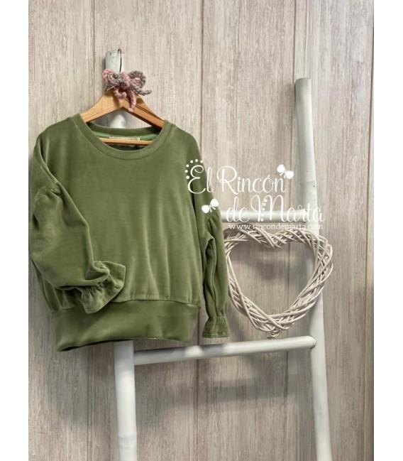 Sudadera Niña Verde Terciopelo Colección Invierno 2020-21 de Mia y Lia