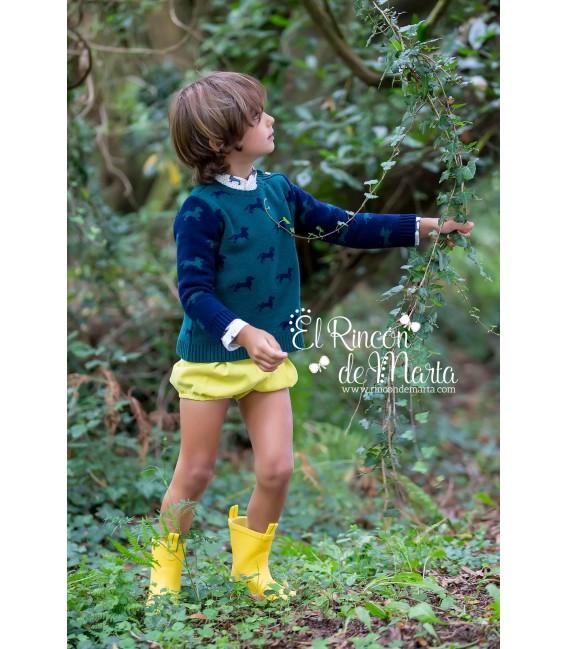 Jersey Punto Niño Verde Azul Colección Magic Teckels de Kid's Chocolate, Invierno 2020