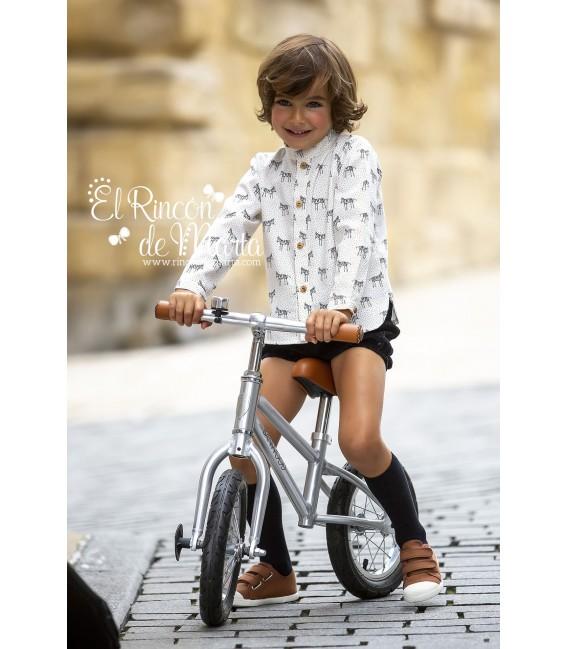 Camisa Niño Blanco Colección Zebras de Kid's Chocolate, Invierno 2020