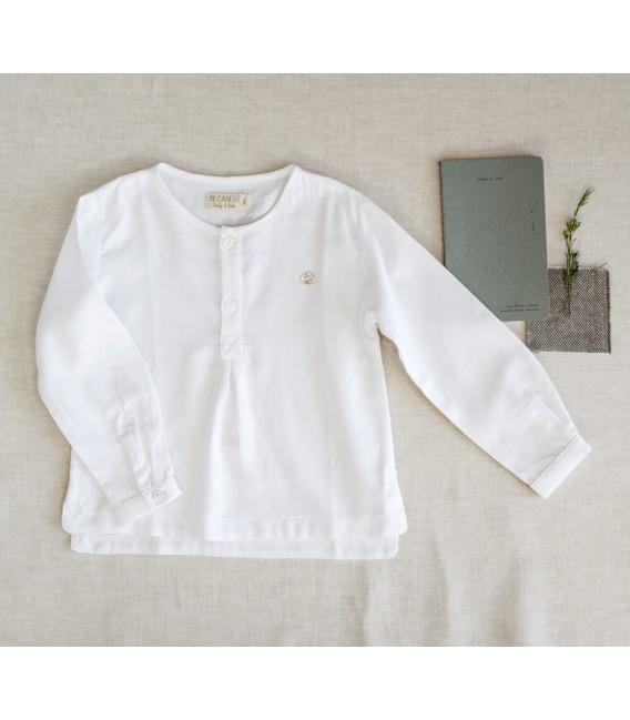 Camisa Mao Niño Algodón Blanco Colección Escondite de Mi Canesú, Invierno 2020