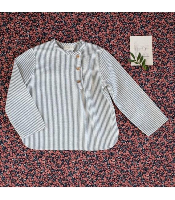 Camisa Niño Abertura Rayas Denim Colección Mimosa, Invierno 2020