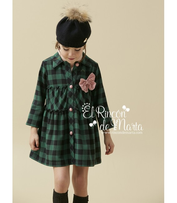 Vestido Niña Cuadros Verde Colección Invierno 2020 de Nanos