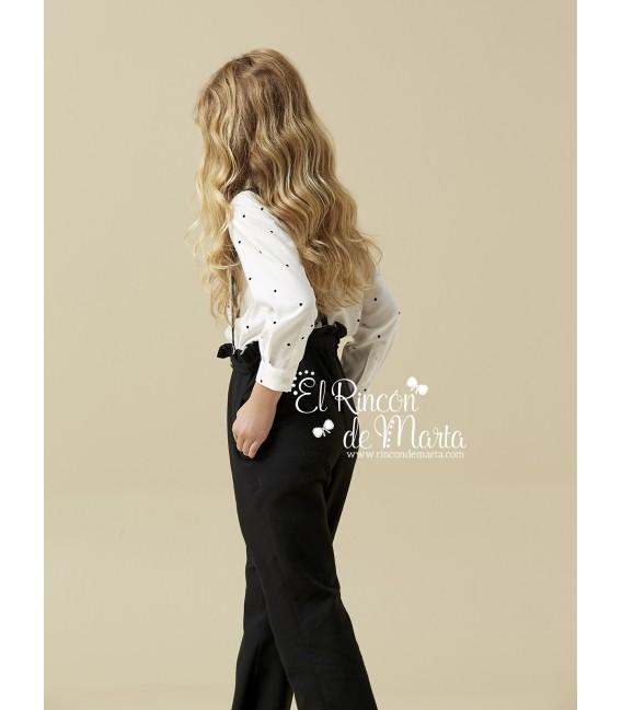 Pantalón Niña Negro Tirantes Colección Invierno 2020 de Nanos