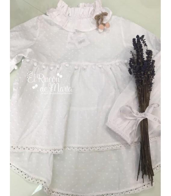 Blusón Mujer Blanco Plumeti Colección Texas de Kauli, Invierno 2020