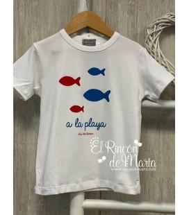 Camiseta Niño Blanca Peces Colección Verano 2021 de Mon Petit Bonbon