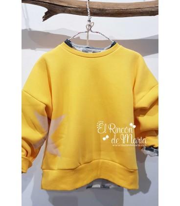 Sudadera Unisex Amarilla Estrella Colección Dream in Colour de Mia y Lia, Verano 2021