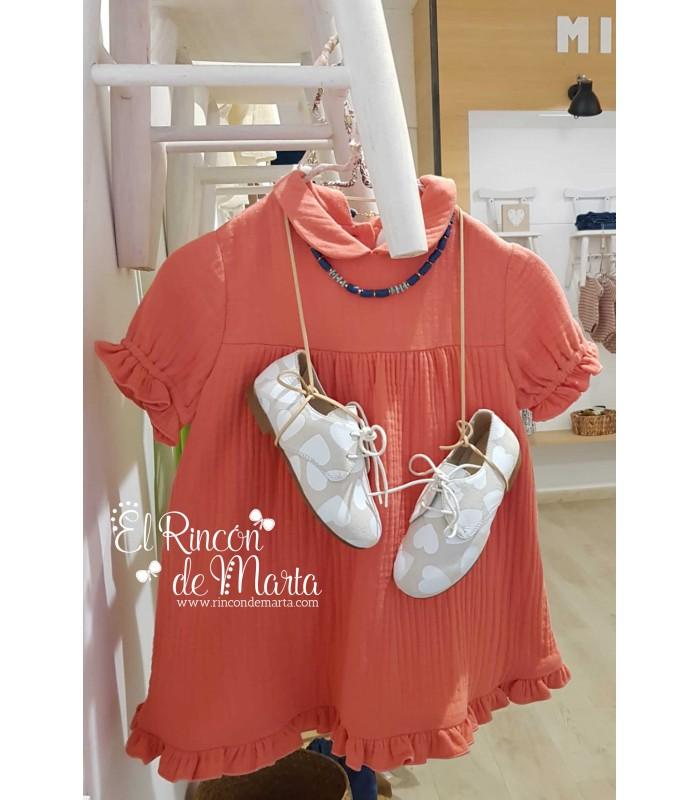 Vestido Niña Bámbula Coral Colección Dream in Colour de Mia y Lia, Verano 2021