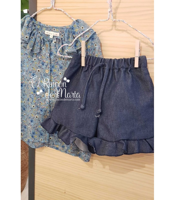 Short Niña Denim Volantes Colección Dream in Colour de Mia y Lia, Verano 2021
