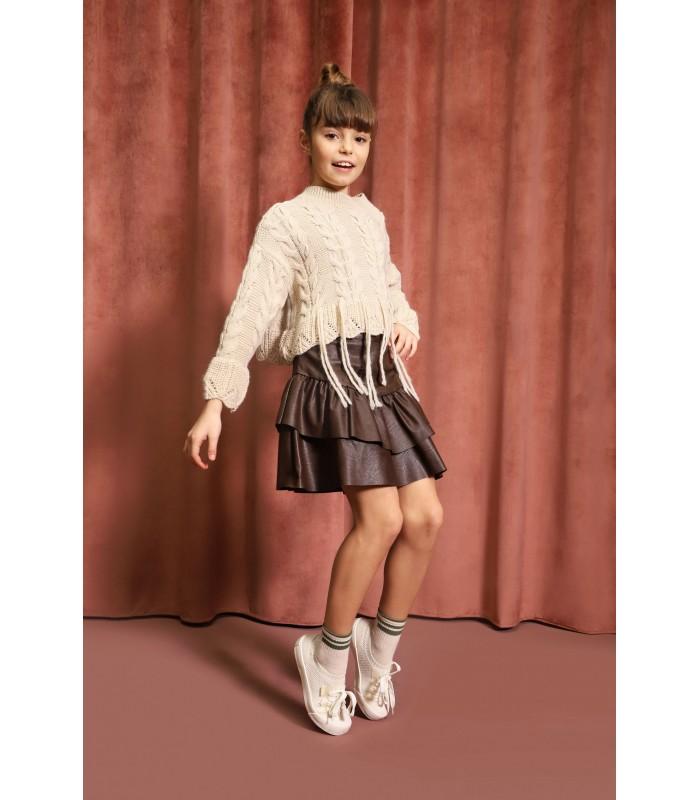 Minifalda Niña Cuero Negro Colección Invierno 2021 de Dixie