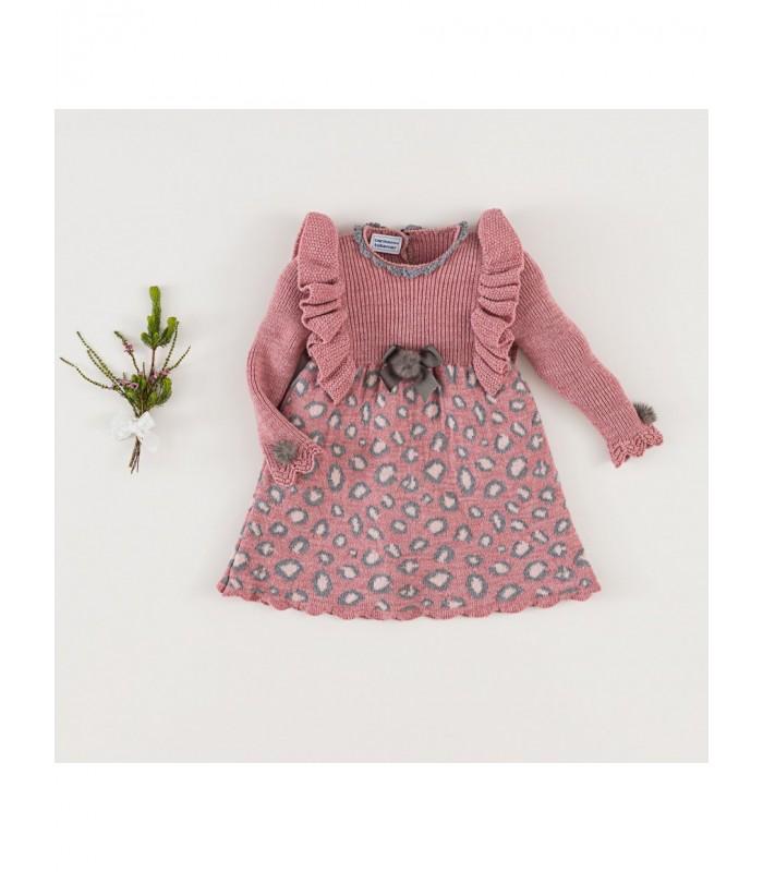 Vestido Niña Rosa Leopardo Colección Invierno 2021 de Carmen Taberner