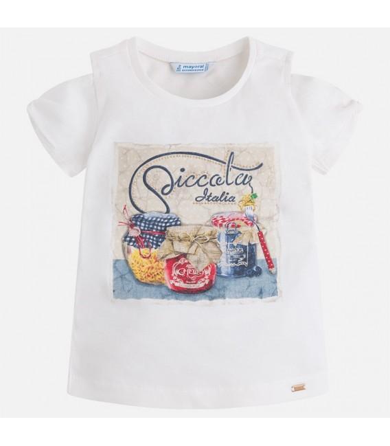 Camiseta Manga Corta Niña Crudo